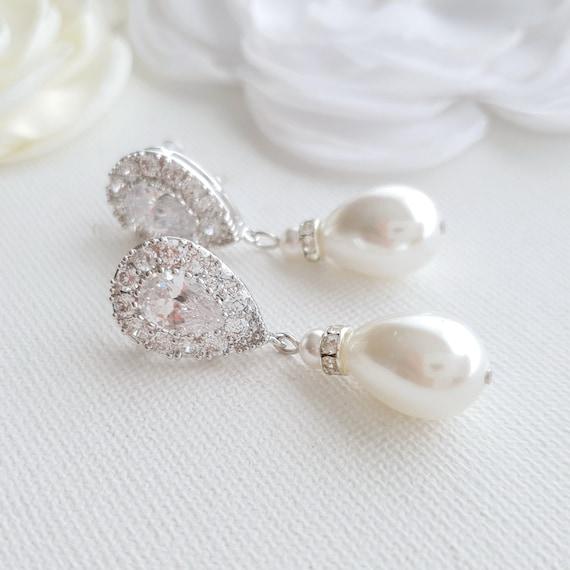 Crystal Bridal Earrings Pearl Drop Earrings Wedding Etsy