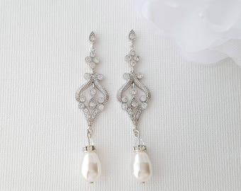 Vintage Style Wedding Earrings, Pearl Wedding Jewelry, Bridal Earrings, Pearl Bridal Jewelry, Long Wedding Earrings, Elizabeth