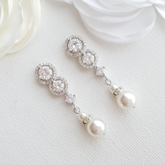 Bridal Earrings Swarovski Pearl Drop Earrings Wedding Etsy