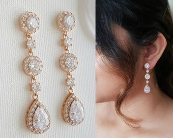 Rose Gold Bridal Earrings Wedding Jewelry Long Wedding Earrings Crystal Drop Earrings Teardrop Earrings Gold Bridal Jewelry, Reagan