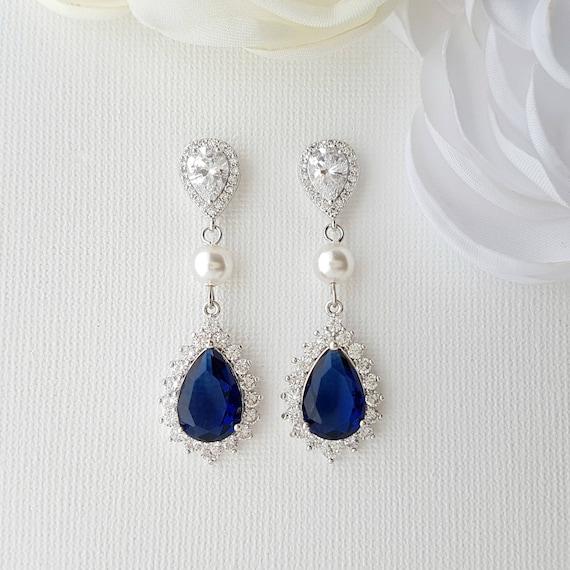Bridal Earrings-Something Blue For Bride-Wedding Earrings-Bridal Earrings-Jewelry for Bride-Filigree Earrings-Edwardian Earrings-Blue Ear