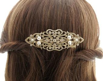 Bridal Hair Comb, Antique Gold Art Deco Hair Comb, Wedding Hair Comb, Gold Hair Piece, Swarovski Pearl, Bridal Hair Jewelry