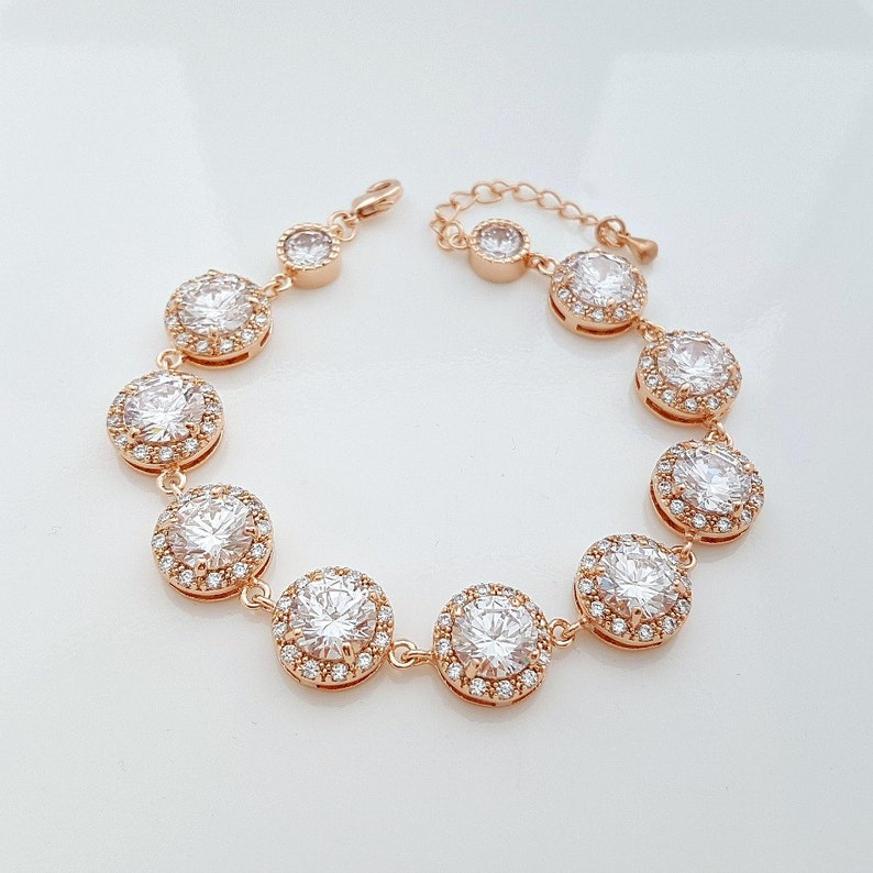 Rose Gold Wedding Bracelet Crystal Bridal Bracelet Round image 0