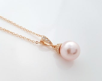 Blush Pink Pearl Rose Gold Pendant, Single Pearl Necklace, Rose Pink Swarovski Pearl, Bridesmaid Pendant Necklace, Wedding Jewelry, Ava