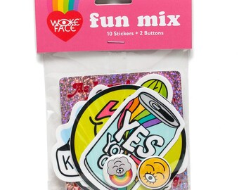 Wokeface Fun Mix Sticker Button Pack