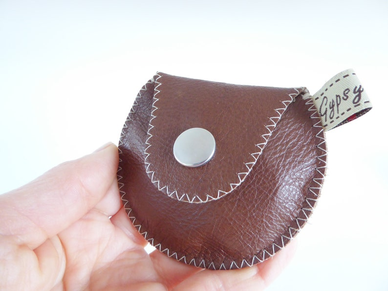 Vintage Coin Purse  The Mini Gypsy Change Purse  Leather Coin Purse  Vintage Eyelet and Brown Leather