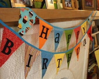 Reversible Fabric Happy Birthday Banner Bright Colors
