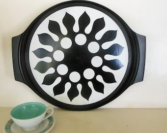 70's Black & White Tray, Large Nordic Flower Design Wall Art, Lazy Susan