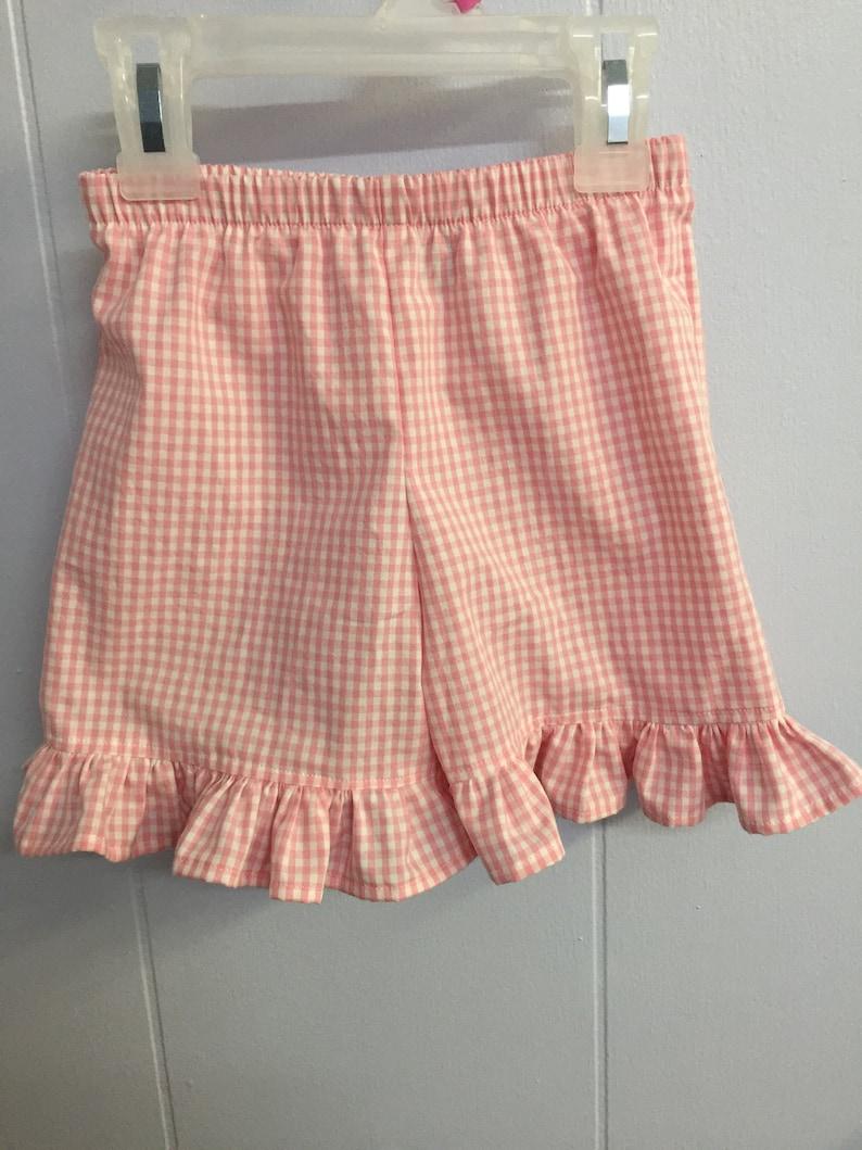 girls ruffled gingham shorts