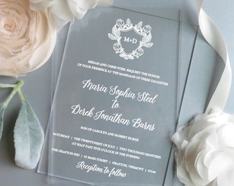 Acrylic Invitations | Clear Invitations  | Vinyl Invitations |  - Style 13 - BOTANICAL Crest COLLECTION