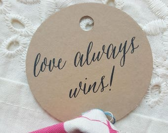 Printed Favor Tags  | Thank You Tags  | Thank You | Printed Favor Tags | Love Always Wins COLLECTION - 100 Tags - Style T02