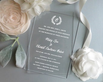 Acrylic Invitations | Clear Invitations  | Vinyl Invitations |  - Style 07 - Monogram Wreath COLLECTION
