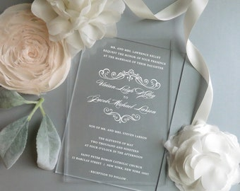Acrylic Invitations | Clear Invitations  | Vinyl Invitations |  - Style 06 - Graceful COLLECTION