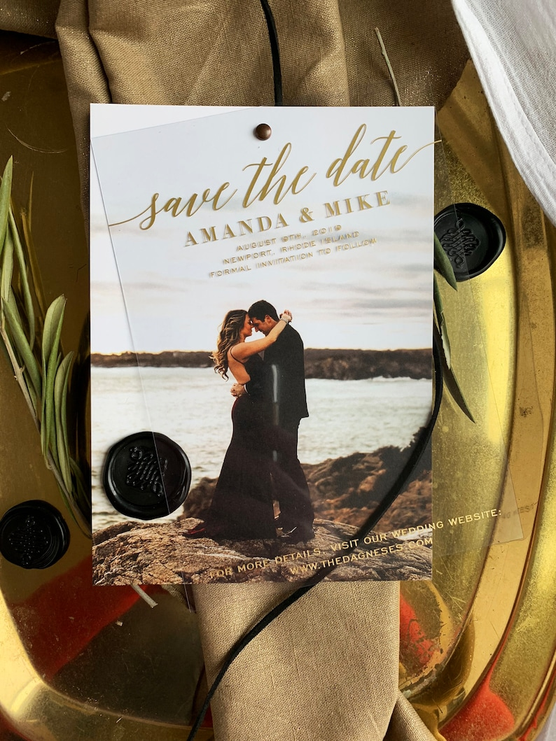 Save the Date Cards with Envelopes  Clear Invites    Foil image 0