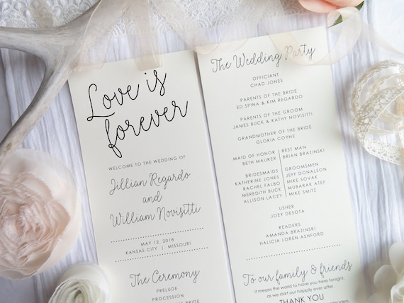 wedding programs ceremony program double sided programs etsy