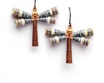 Artist dragonfly earrings • Woodland earrings • Creative jewelry • Wearable art earrings • Big dangle earrings • Unusual present for her
