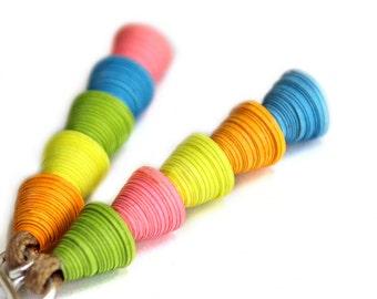 Splashy neon earrings • Bold statement earrings • Paper art jewelry • Neon dangle earrings • Vibrant earrings • Colorful drop earrings