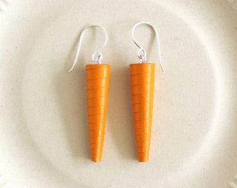 Tangerine orange earrings • Bright orange earrings • Orange drop earrings • Long orange earrings • Paper earrings • Orange dangle earrings