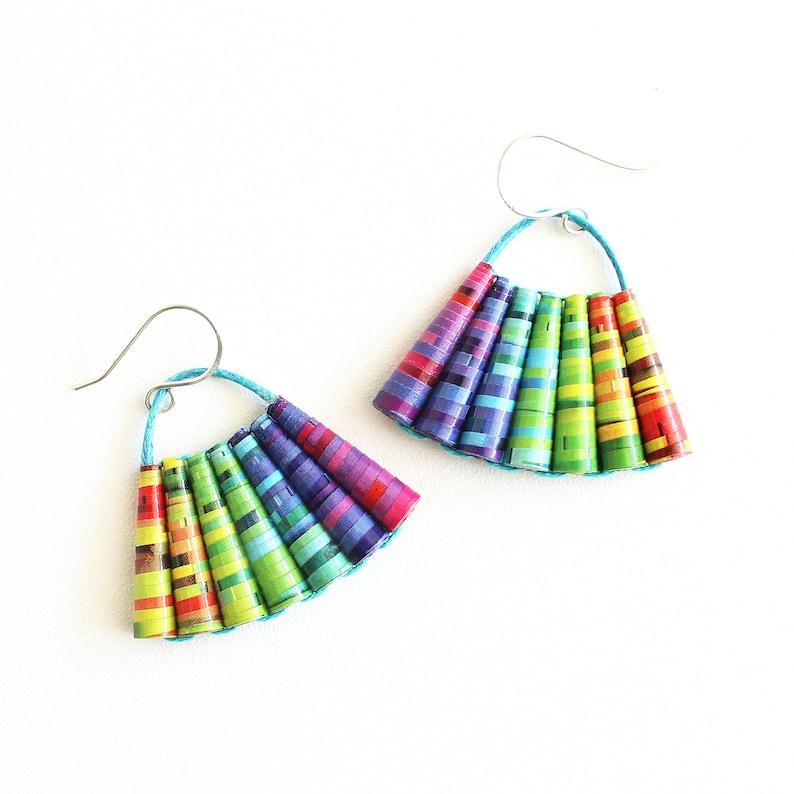 Recycled Tin Dangle Earrings Rainbow PRIDE Earrings LGTBQ+ Colorful