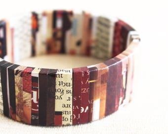 Nostalgic newspaper bracelet • Bohemian bracelet • Gift for bookworm • Unconventional jewelry • Bold statement bracelet • Repurposed jewelry