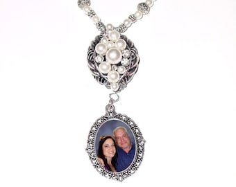 Wedding Bouquet Memorial Photo Charm Timeless Elegance Crystals Pearls Tibetan Beads - FREE SHIPPING