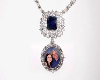 Photo Wedding Bouquet Memorial Charm Timeless Elegance Something Blue Crystal Gems Pearls - FREE SHIPPING