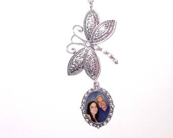 Rearview Mirror Memorial Photo Charm Silver Dragonfly Clear Crystals Pearls Tibetan Beads - FREE SHIPPING