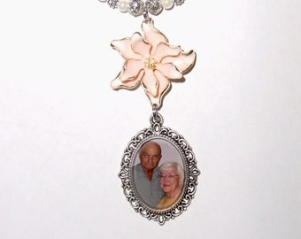 Rearview Mirror Memorial Photo Charm Peach with Gold Trim Flower Crystal Gems Pearls Tibetan Beads - Free SHIPPING