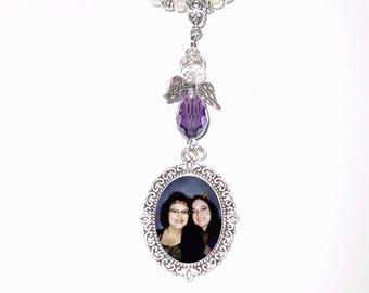 Memorial Photo Charm Rearview Mirror Purple Awareness Heavenly Angel Crystals Gems Diamonds Pearls Silver Tibetan Beads - FREE SHIPPING