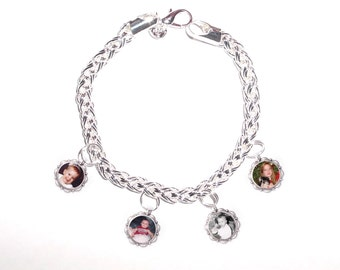 Memorial Photo 4 Charm Bracelet Sterling Silver  - FREE SHIPPING