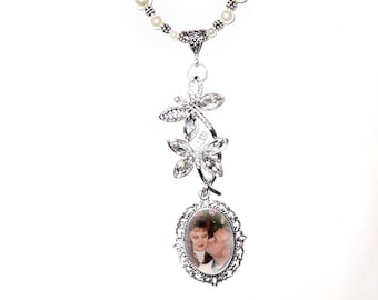 Wedding Bouquet or Rearview Mirror Charm Memorial Photo Crystal Double dragonflies Crystals Pearls Silver Metal Beads - FREE SHIPPING