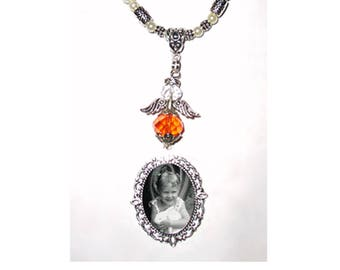 Rearview Mirror Memorial Photo Charm Orange Awareness Heavenly Angel Crystals Gems Diamonds Pearls Silver Tibetan Beads - FREE SHIPPING