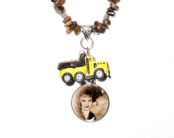 Rearview Mirror Charm Vintage Dump Truck Polished Rock Tibetan Metal    - FREE SHIPPING