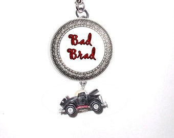 Keychain Photo Charm Old Antique Car - FREE SHIPPING