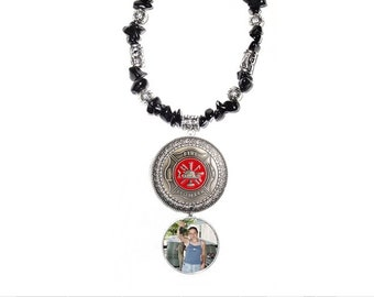 Rearview Mirror Memorial Photo Charm Fire Fighter Polished Black Rocks Tibetan Beads - FREE SHIPPING