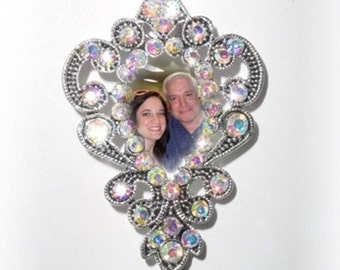 Wedding Bouquet Memorial Photo Charm Brooch Timeless Grace Iridescent Crystal Gems - FREE SHIPPING