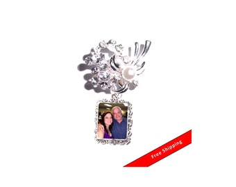 DIY - Bouquet Charm - Wedding Memorial Photo Charm Crystals Pearls Silver  - FREE SHIPPING