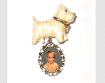Brooch Memorial Photo Dog Sschnauzer Vintage  - FREE SHIPPING