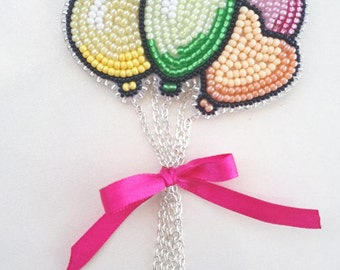 Balloon seed beads embrodery brooch