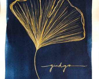 Originally ink and cyanotype drawing of a ginkgo leaf