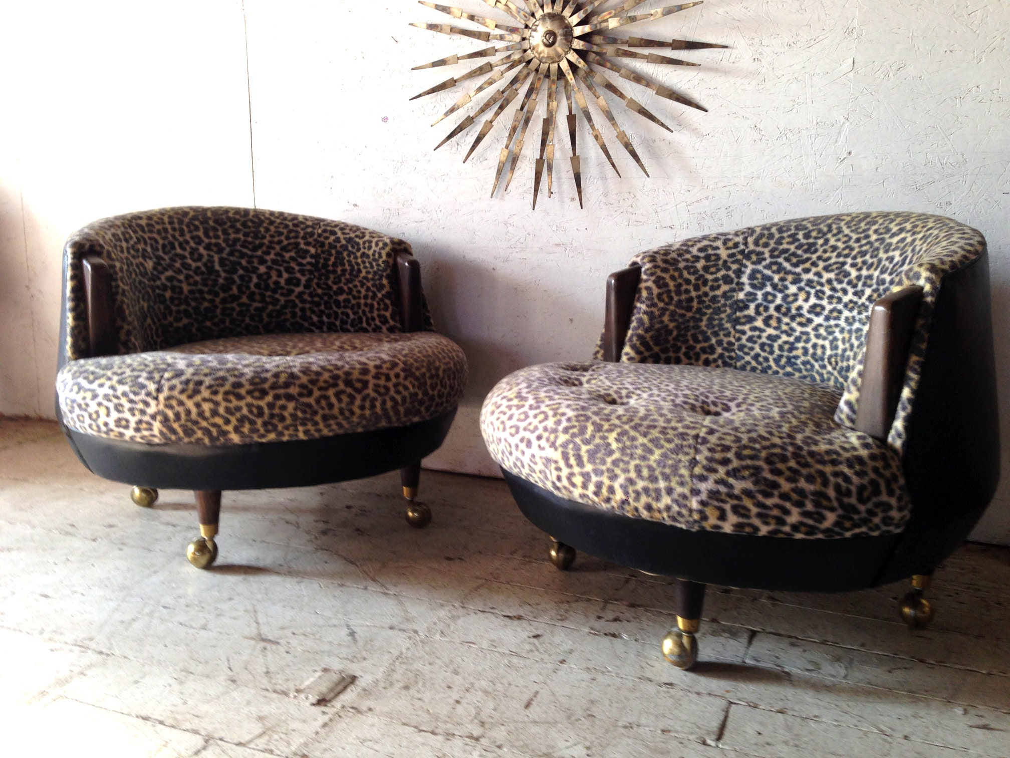 SALE Pair Mid Century Modern Round Lounge Chairs Faux leopard upholstery  9s attrib to Adrian Pearsall Craft Associates era