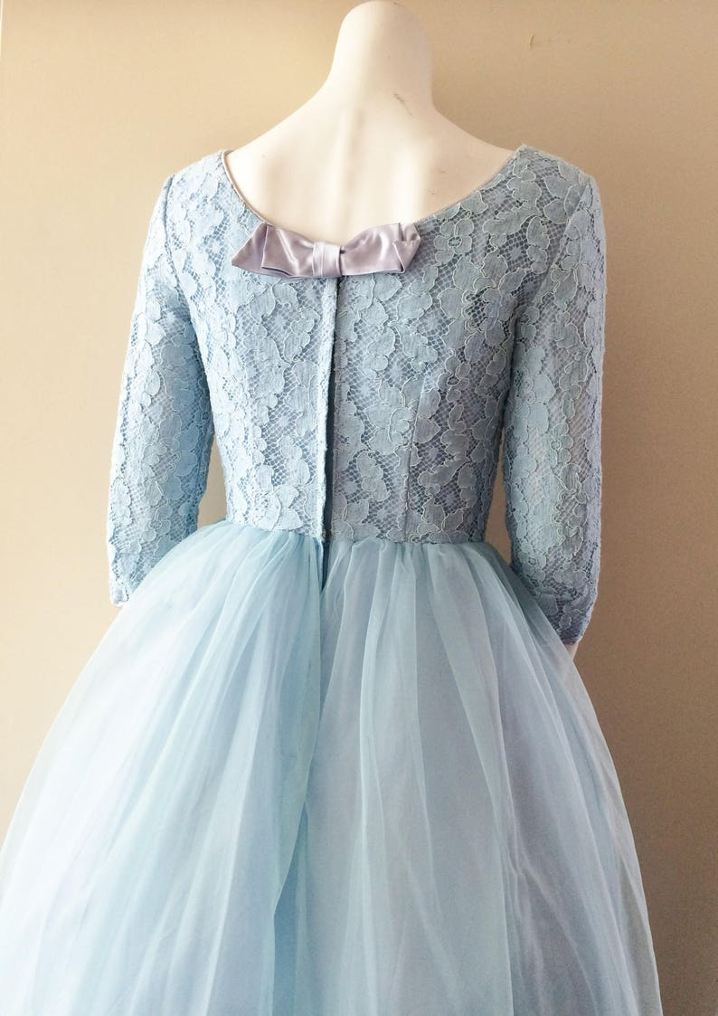 Baby Blue Lace Vintage Full Length Wedding Dress Prom 50s 60s image 0