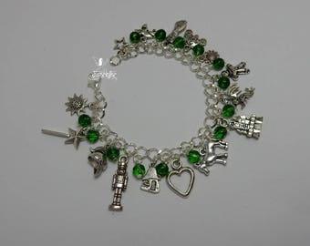 By Day One Way, By Night Another charm bracelet - Princess Fiona - fairy tale charm bracelet with czech glass beads - Shrek - valentine