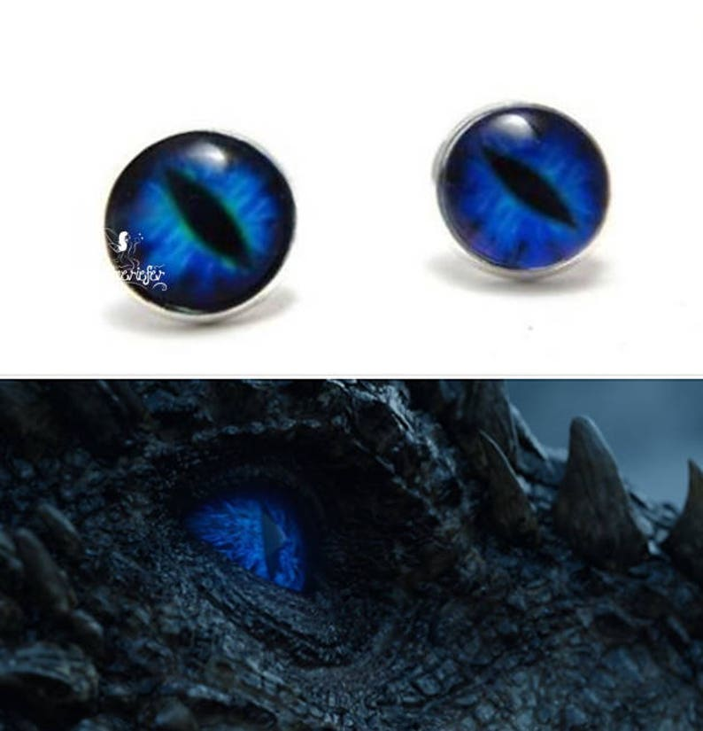 Mythical Ice Dragon Eye blue glass Earrings studs Viserion Game of Thrones  gift