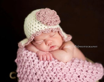 Baby Hat, Newborn Hat, Newborn Baby Scallop Edged Earflap Hat, Photography Prop,Ecru and Rose or Choose your own colors