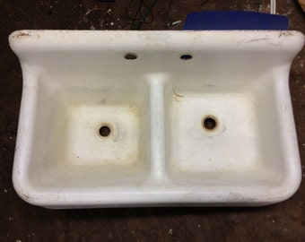Vintage Porcelain Over Cast Iron Double Basin Farmhouse Sink