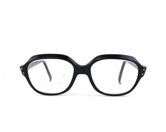 965c6f3a2f vintage black eyeglasses round. eye glasses. eyeglass frames. men. women.  unisex. eyewear. retro. accessories. horn rimmed. 48  16 140mm