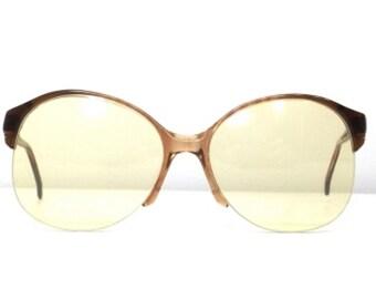 4b91c99f55 70s italian eyeglasses oversize round eye glasses half rim
