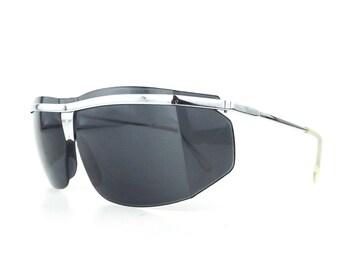 91dba9d8cd39 oversize black shield sunglasses | vintage 80s wrap around ski sun glasses