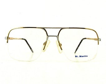 4f3bc4c8234 vintage eyeglasses oversize glasses half rim eyeglass frames retro glasses  eye glasses eyewear gold metal frames mens glasses prescription